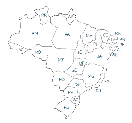 Mapa de representantes RTO retentores no Brasil